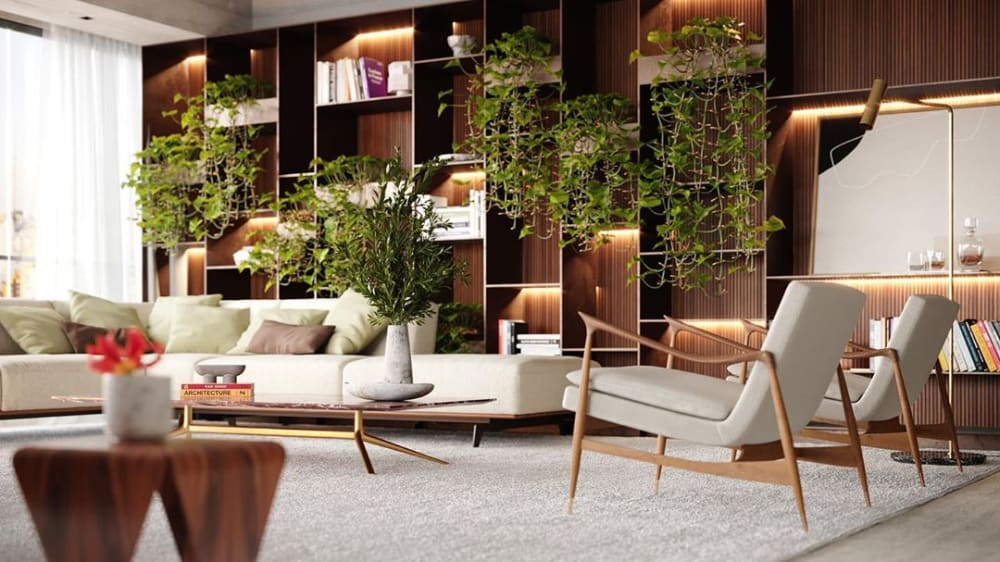"""Biophilic living room with wooden built-in bookshelf with draping plants.<span class=""""sr-only""""> (opened in a new window/tab)</span>"""