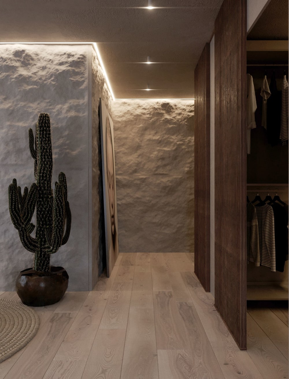 """Contemporary corridor with stone-covered wall.<span class=""""sr-only""""> (opened in a new window/tab)</span>"""