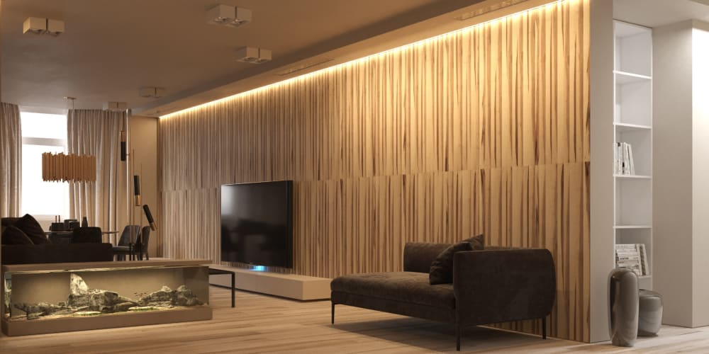 """Contemporary living room with textured wood wall and an aquarium.<span class=""""sr-only""""> (opened in a new window/tab)</span>"""