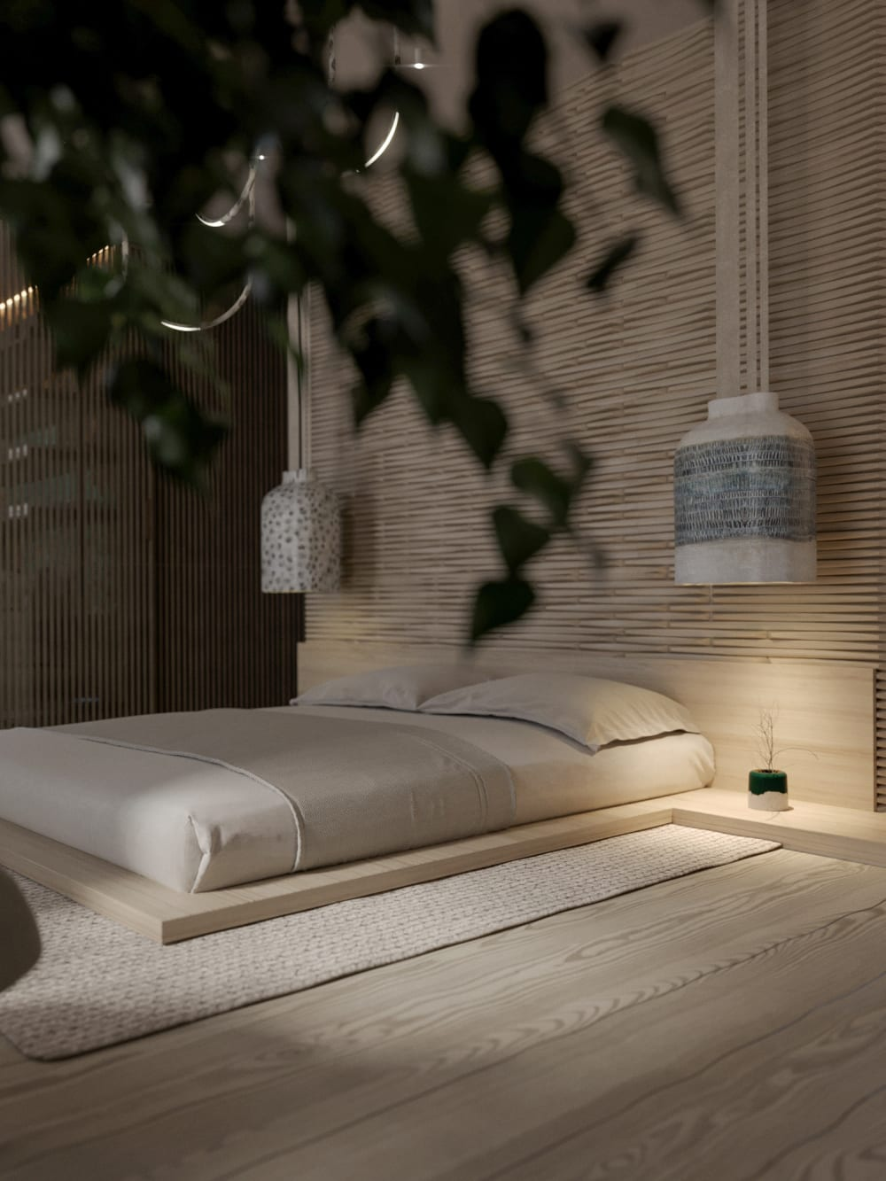 """Contemporary bedroom with wood panelling behind the bed.<span class=""""sr-only""""> (opened in a new window/tab)</span>"""