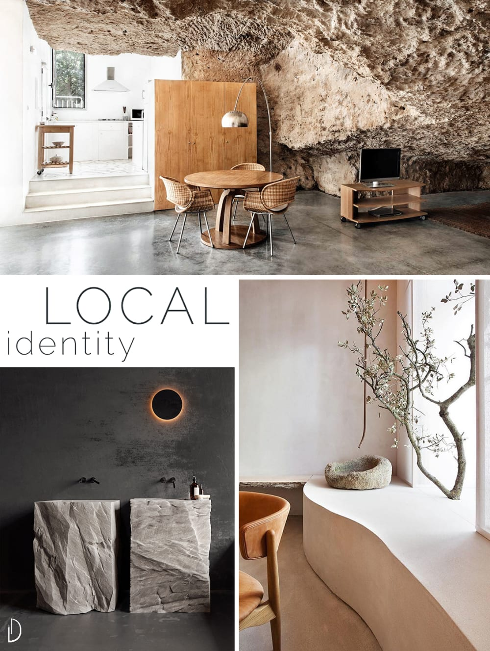 """Biophilic design moodboard showing 3 examples of local identity: a home built inside a natural cave, solid stone sinks in a modern bathroom and a branch used as decor in a contemporary living room.<span class=""""sr-only""""> (opened in a new window/tab)</span>"""