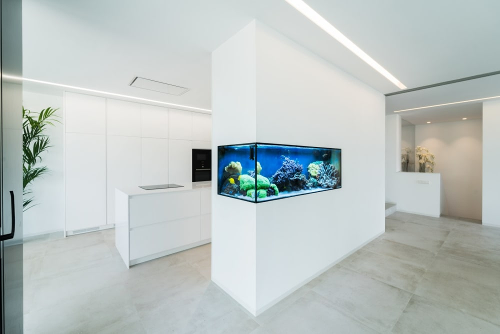 """Total-white kitchen with a built-in fish tank as room divider.<span class=""""sr-only""""> (opened in a new window/tab)</span>"""
