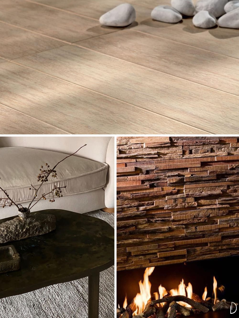 "Biophilic design moodboard depicting natural textures in interiors: a wood flooring, a wood coffee table with textured accessories and the detail of a wooden fireplace wall.<span class=""sr-only""> (opened in a new window/tab)</span>"