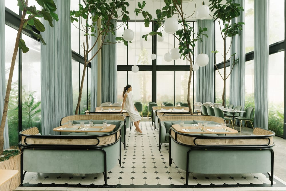 "Biophilic restaurant design in Tranquil Dawn.<span class=""sr-only""> (opened in a new window/tab)</span>"
