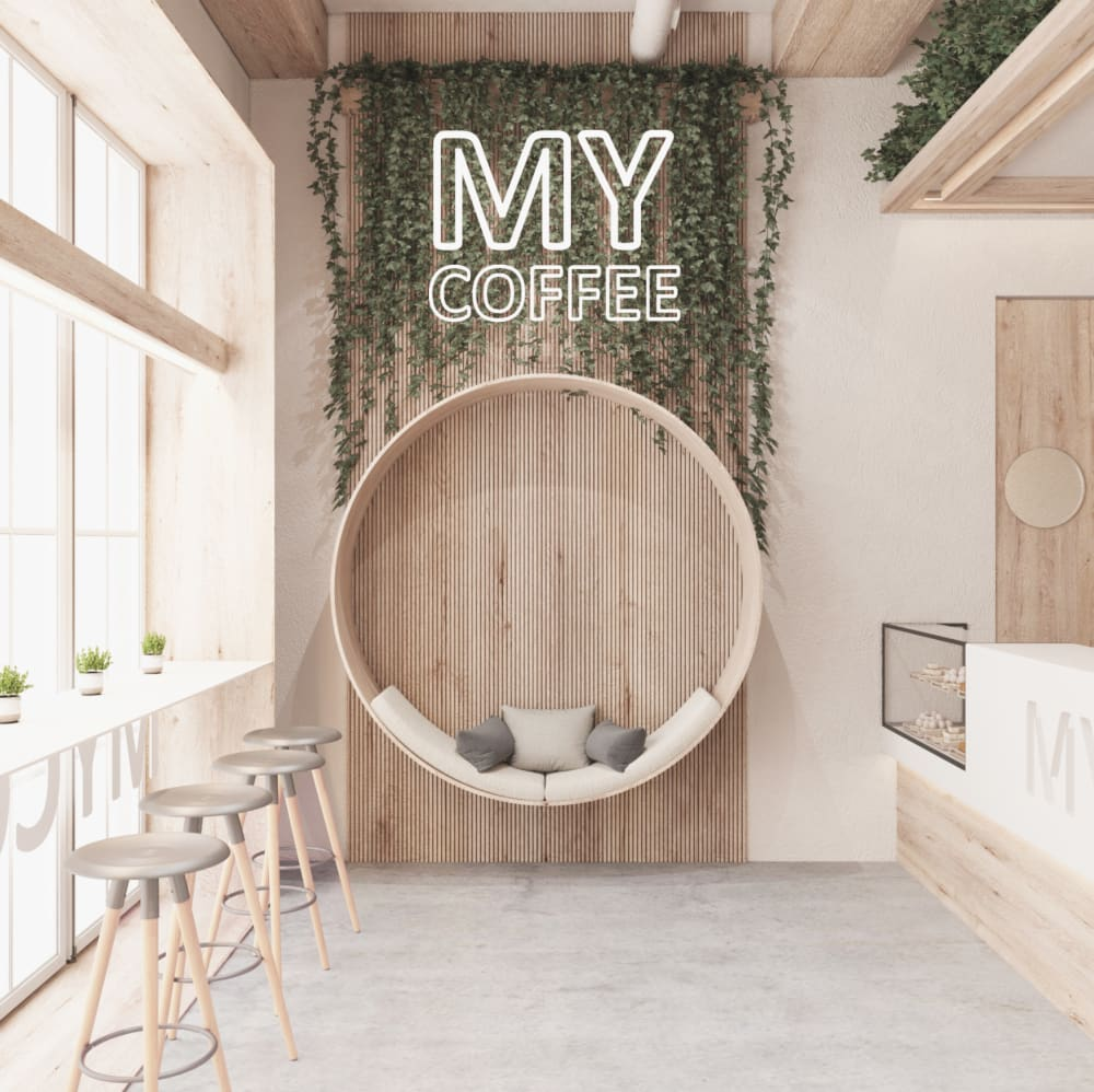 """Neon sign applied over a layer of plants in a café.<span class=""""sr-only""""> (opened in a new window/tab)</span>"""