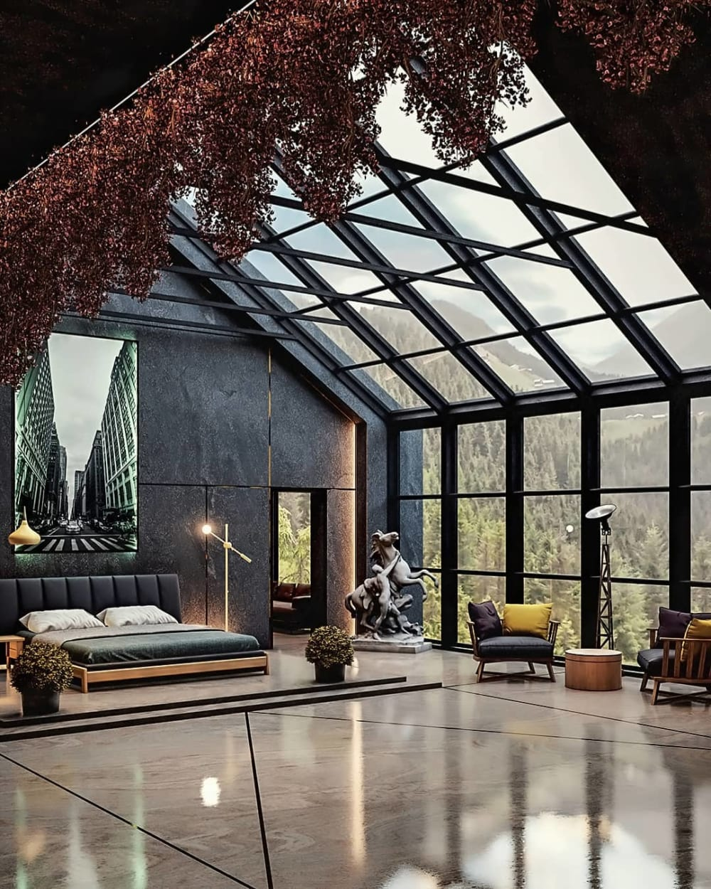 """Bedroom with hanging plants highlighting the vaulted ceiling.<span class=""""sr-only""""> (opened in a new window/tab)</span>"""