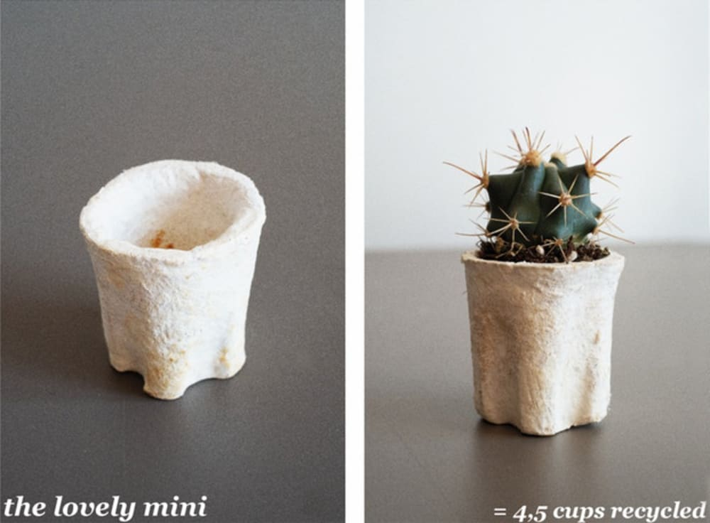 """The Lovely mini vase, made upcycling 4.5 coffee cups.<span class=""""sr-only""""> (opened in a new window/tab)</span>"""