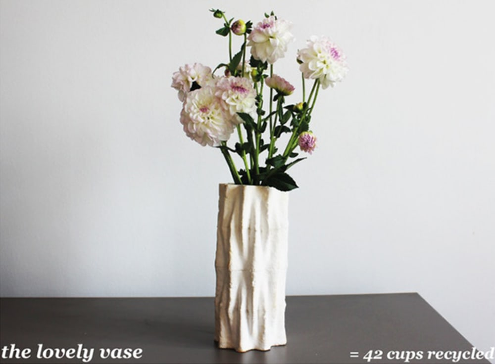"""The Lovely vase, made upcycling 42 coffee cups.<span class=""""sr-only""""> (opened in a new window/tab)</span>"""
