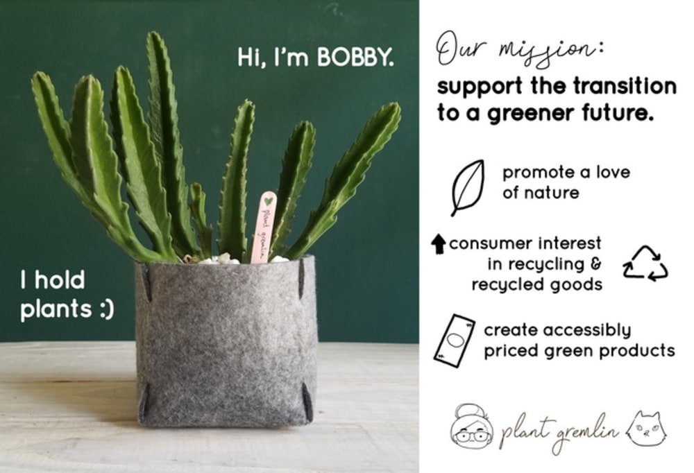 """Shot of Bobby felt planter with a plant inside.<span class=""""sr-only""""> (opened in a new window/tab)</span>"""