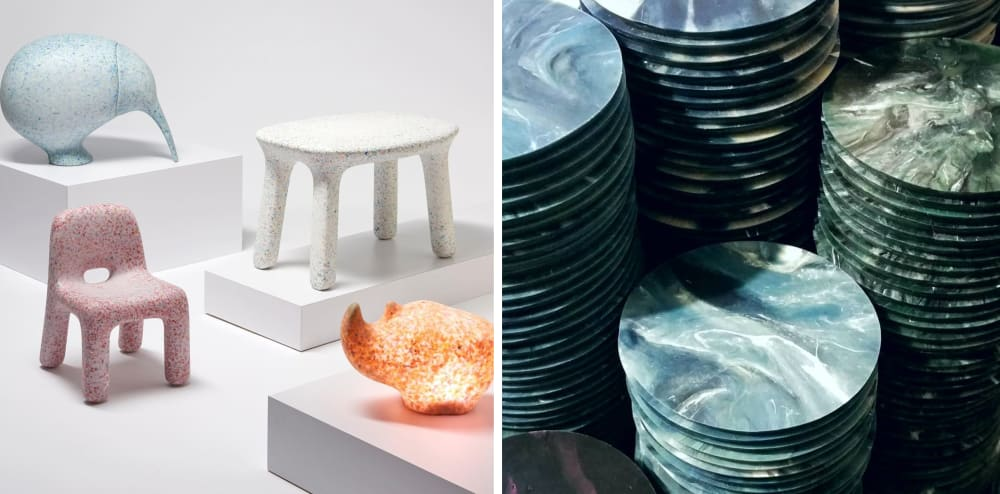"""Two examples of plastic recycling projects. 1. Kids furniture made of recycled plastic toys. 2. Coasters made of recycled plastic wrap.<span class=""""sr-only""""> (opened in a new window/tab)</span>"""
