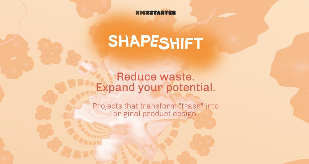 """Shapeshift banner saying """"Reduce waste. Expand your potential. Projects that transform """"trash"""" into original product design.""""<span class=""""sr-only""""> (opened in a new window/tab)</span>"""