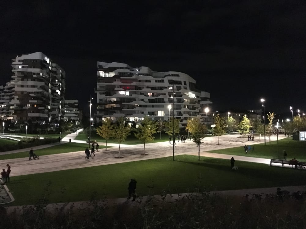 "Biophilic park in CityLife, by night.<span class=""sr-only""> (opened in a new window/tab)</span>"