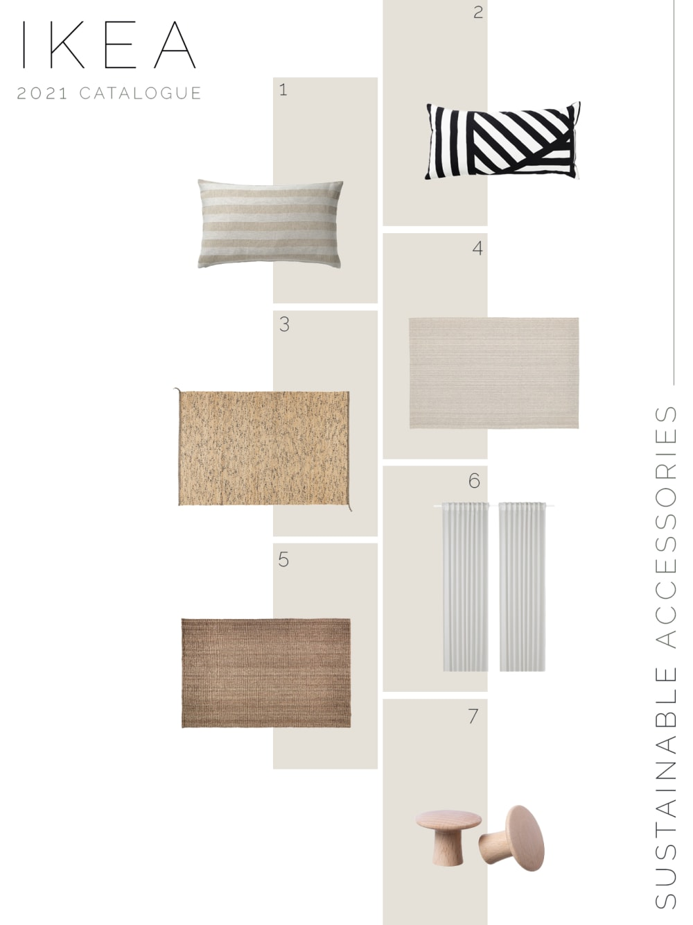 """Moodboard showing new sustainable IKEA products: textiles and accessories.<span class=""""sr-only""""> (opened in a new window/tab)</span>"""