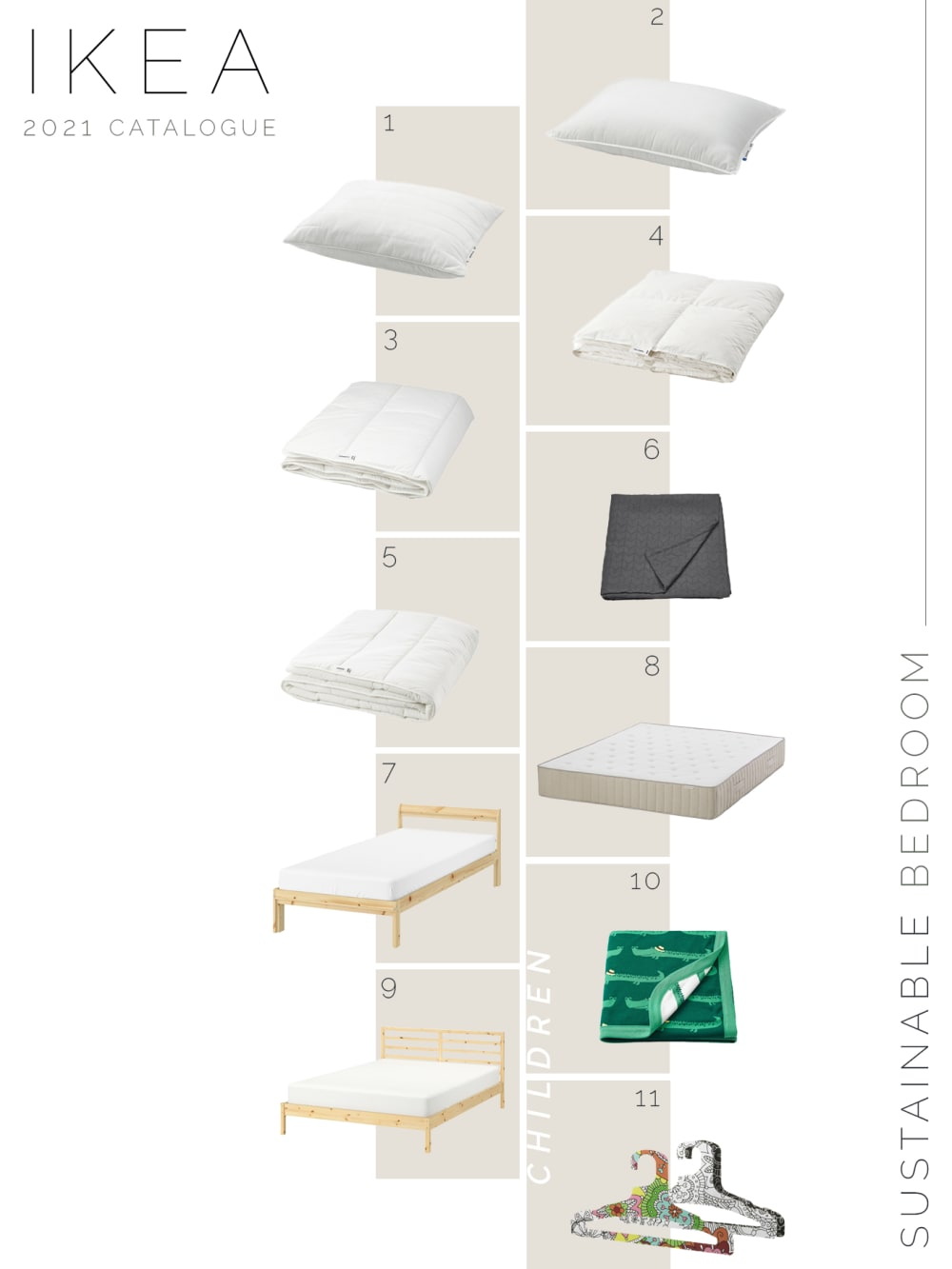 """Moodboard showing new sustainable IKEA products for the bedroom.<span class=""""sr-only""""> (opened in a new window/tab)</span>"""