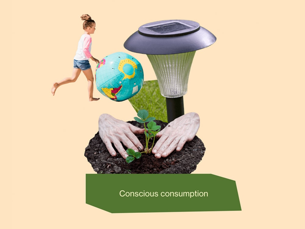 """""""Conscious consumption"""" graphic representing a young girl running, a solar lamp and two hands working in soil.<span class=""""sr-only""""> (opened in a new window/tab)</span>"""