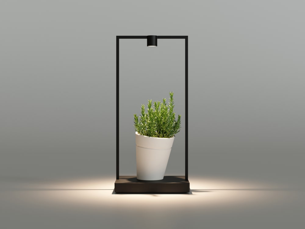 "Portable table lamp in the shape of a metal frame. The hollow in the middle is filled with a plant that gets hit by the light.<span class=""sr-only""> (opened in a new window/tab)</span>"