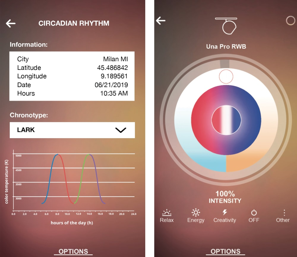 "Screenshot of the Artemide App, that allows to adjust light to our circadian cycle.<span class=""sr-only""> (opened in a new window/tab)</span>"