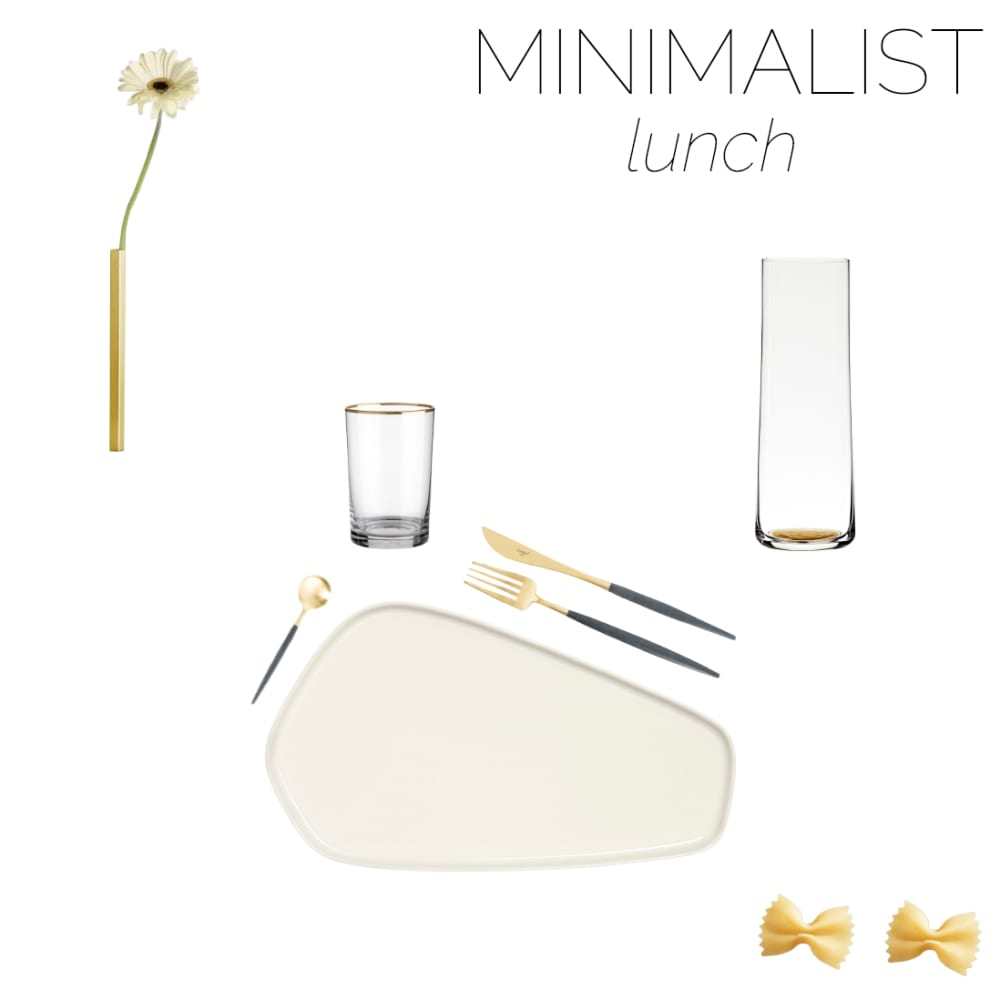 """Mood board of a minimalist table setting for lunch.<span class=""""sr-only""""> (opened in a new window/tab)</span>"""