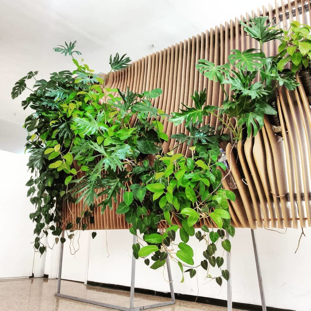 """Garden wall with an ondulated wood base structure.<span class=""""sr-only""""> (opened in a new window/tab)</span>"""