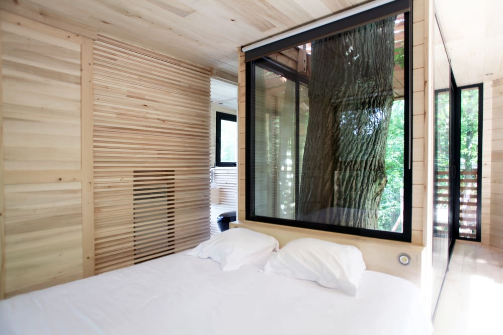 "View of the bedroom, with the oak tree poking behind the bed.<span class=""sr-only""> (opened in a new window/tab)</span>"