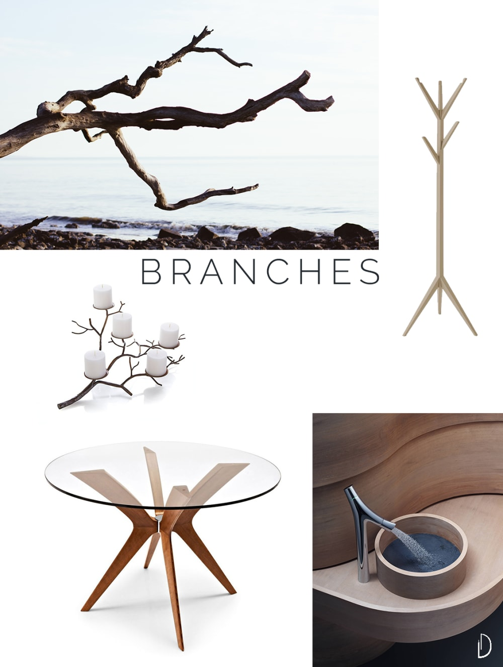"Moodboard of organic design objects inspired by branches.<span class=""sr-only""> (opened in a new window/tab)</span>"