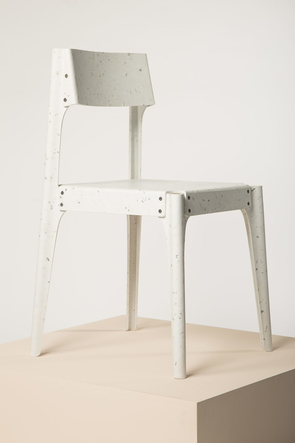 "Recycled plastic chair winning the Guiltess Plastic Prize; one of the plastic recycling initiatives presented at Milan Design Week.<span class=""sr-only""> (opened in a new window/tab)</span>"