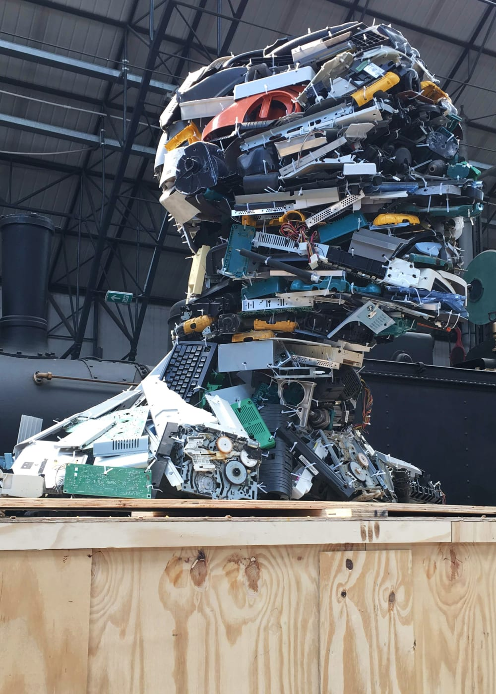 """The Electronic man, a human bust made assembling electronic waste.<span class=""""sr-only""""> (opened in a new window/tab)</span>"""