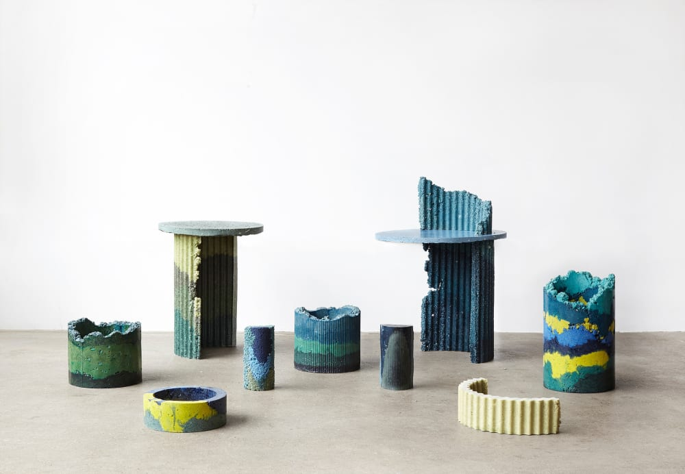 """Charlotte Kidger recycled plastic vases and tables.<span class=""""sr-only""""> (opened in a new window/tab)</span>"""
