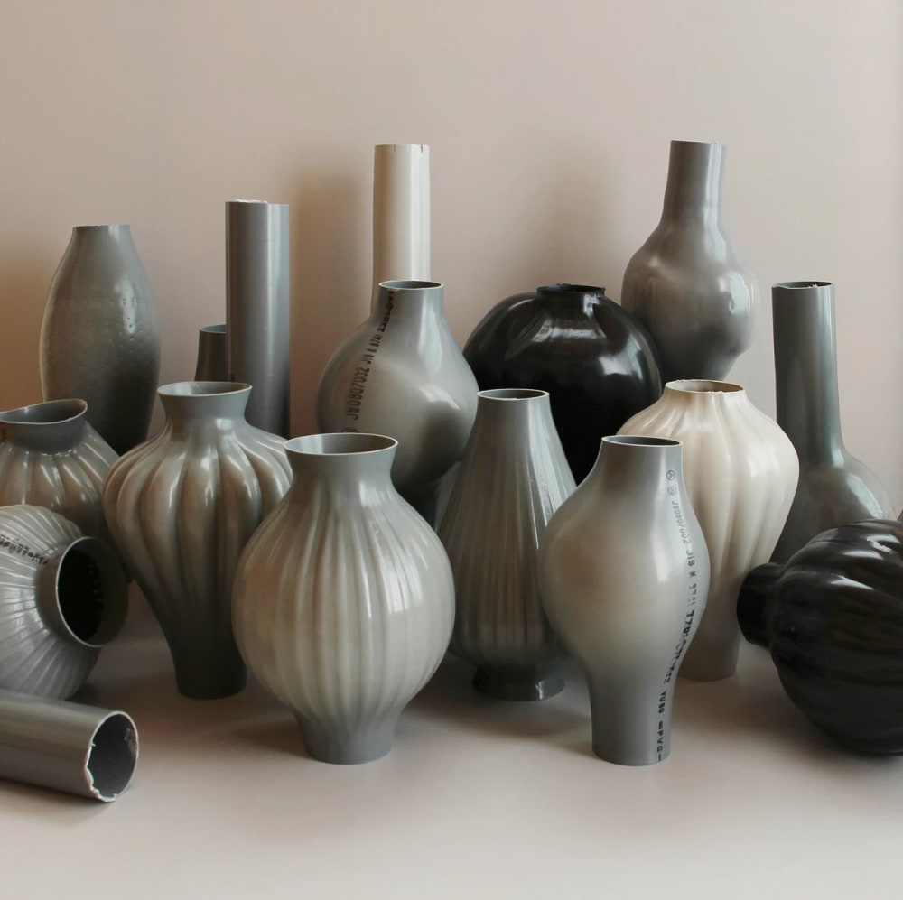 """Kodai Iwamoto Design recycled plastic vases.<span class=""""sr-only""""> (opened in a new window/tab)</span>"""