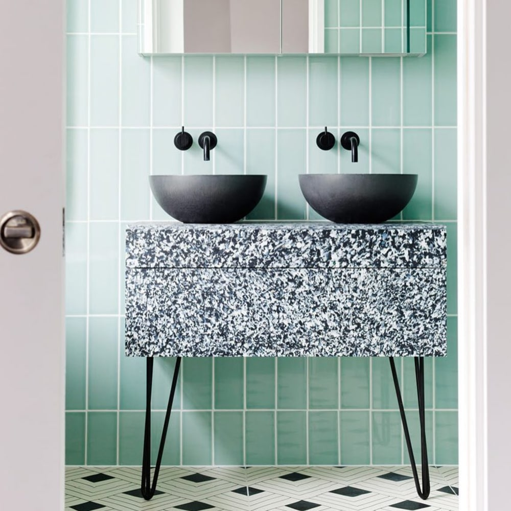 "A bathroom vanity made with a recycled plastic composite.<span class=""sr-only""> (opened in a new window/tab)</span>"
