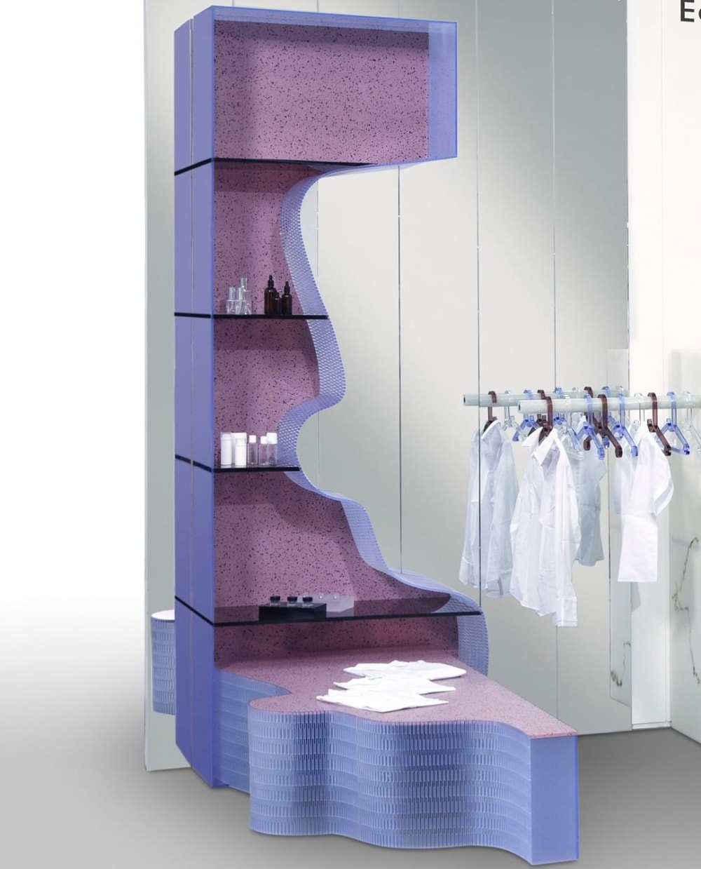 "A retail shelving system made of colourful sheets of recycled plastic.<span class=""sr-only""> (opened in a new window/tab)</span>"