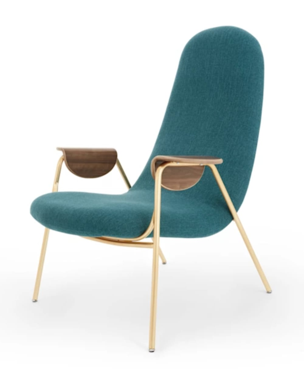 """Armchair with sculptural wooden armrests.<span class=""""sr-only""""> (opened in a new window/tab)</span>"""