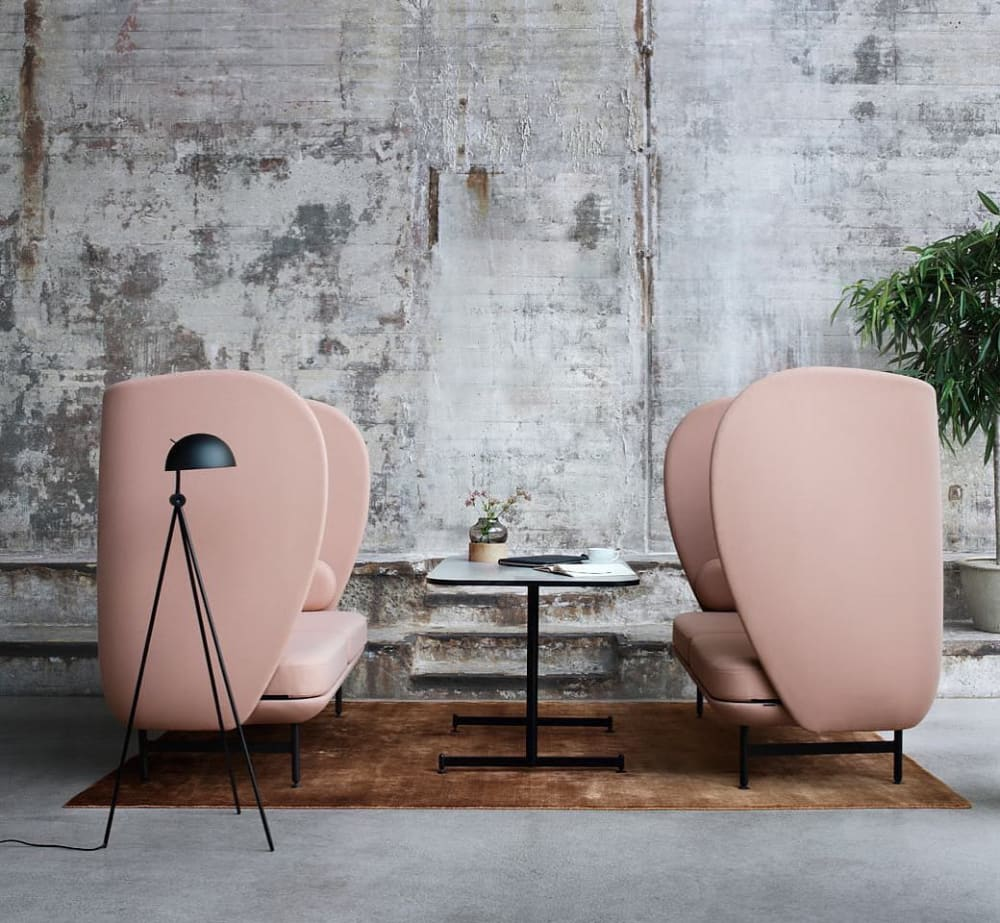 "Acoustic pink chairs with a high and enveloping back.<span class=""sr-only""> (opened in a new window/tab)</span>"