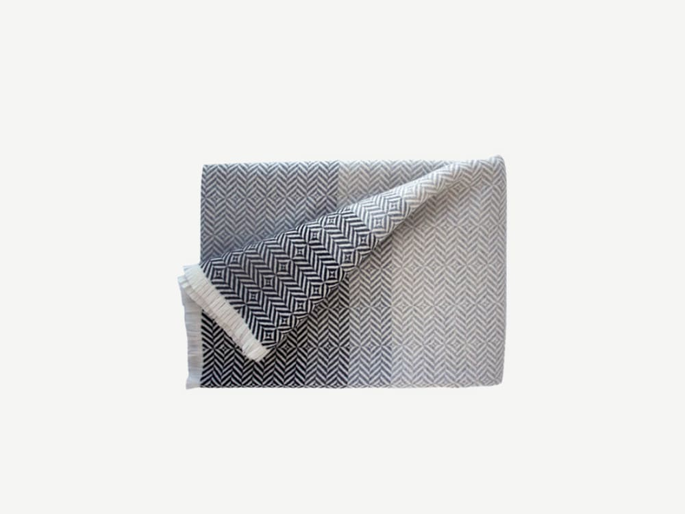"""Grey blanket with a herringbone white pattern.<span class=""""sr-only""""> (opened in a new window/tab)</span>"""