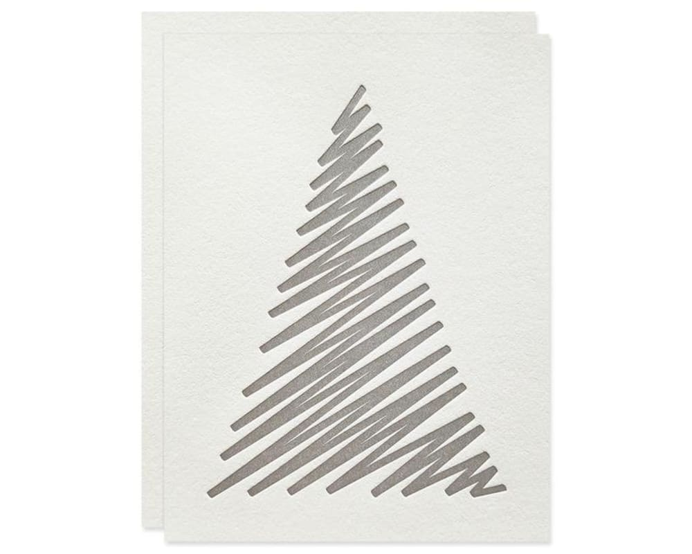 "White Christmas card decorated with a simple drawn tree.<span class=""sr-only""> (opened in a new window/tab)</span>"