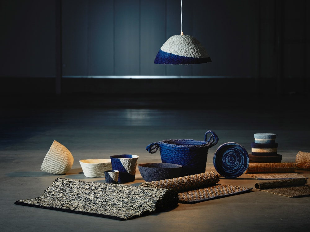 "Rugs, boxes, baskets and lampshades from IKEA's FÖRÄNDRING_collection.<span class=""sr-only""> (opened in a new window/tab)</span>"