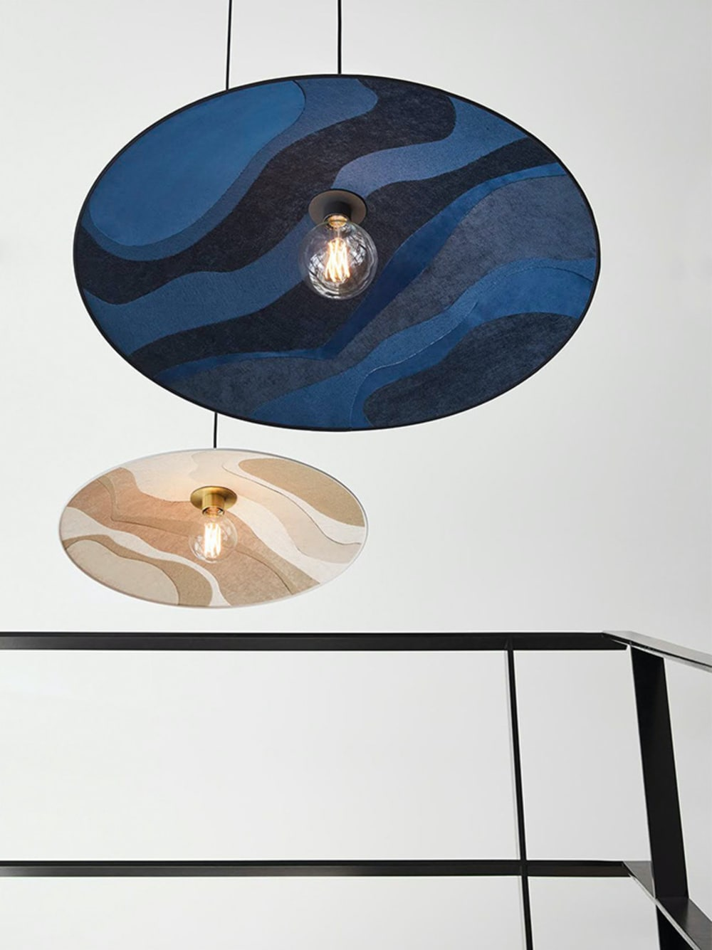 """Pendant lamps made with fabric scraps shaped as flowers.<span class=""""sr-only""""> (opened in a new window/tab)</span>"""