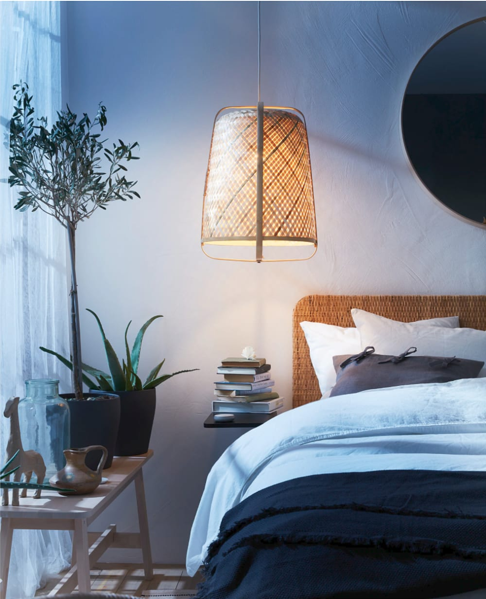"""Bamboo pendant lamp in a blue bedroom.<span class=""""sr-only""""> (opened in a new window/tab)</span>"""