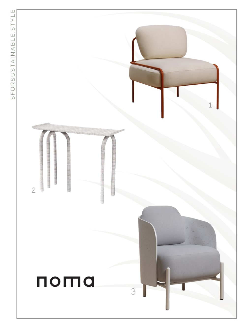 "Moodboard with two chairs and a console by NOMA.<span class=""sr-only""> (opened in a new window/tab)</span>"