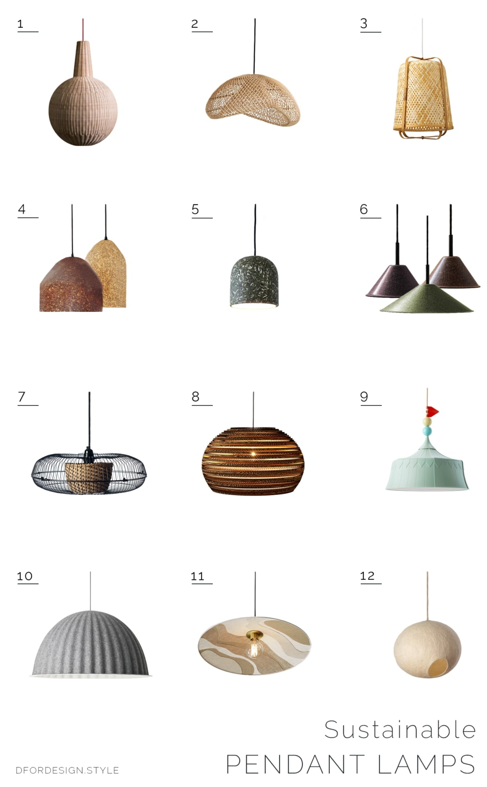 """Moodboard showing 12 sustainable lampshades.<span class=""""sr-only""""> (opened in a new window/tab)</span>"""