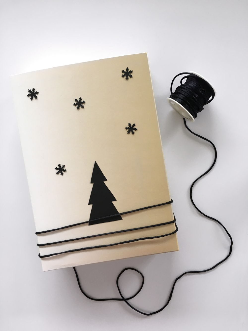 """Gift wrapped in a reused box decorated with paper snowflake and a Christmas tree.<span class=""""sr-only""""> (opened in a new window/tab)</span>"""