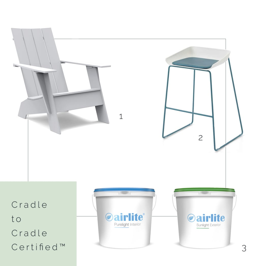 "Cradle to Cradle Certified™ lounge chair, stool and paint.<span class=""sr-only""> (opened in a new window/tab)</span>"