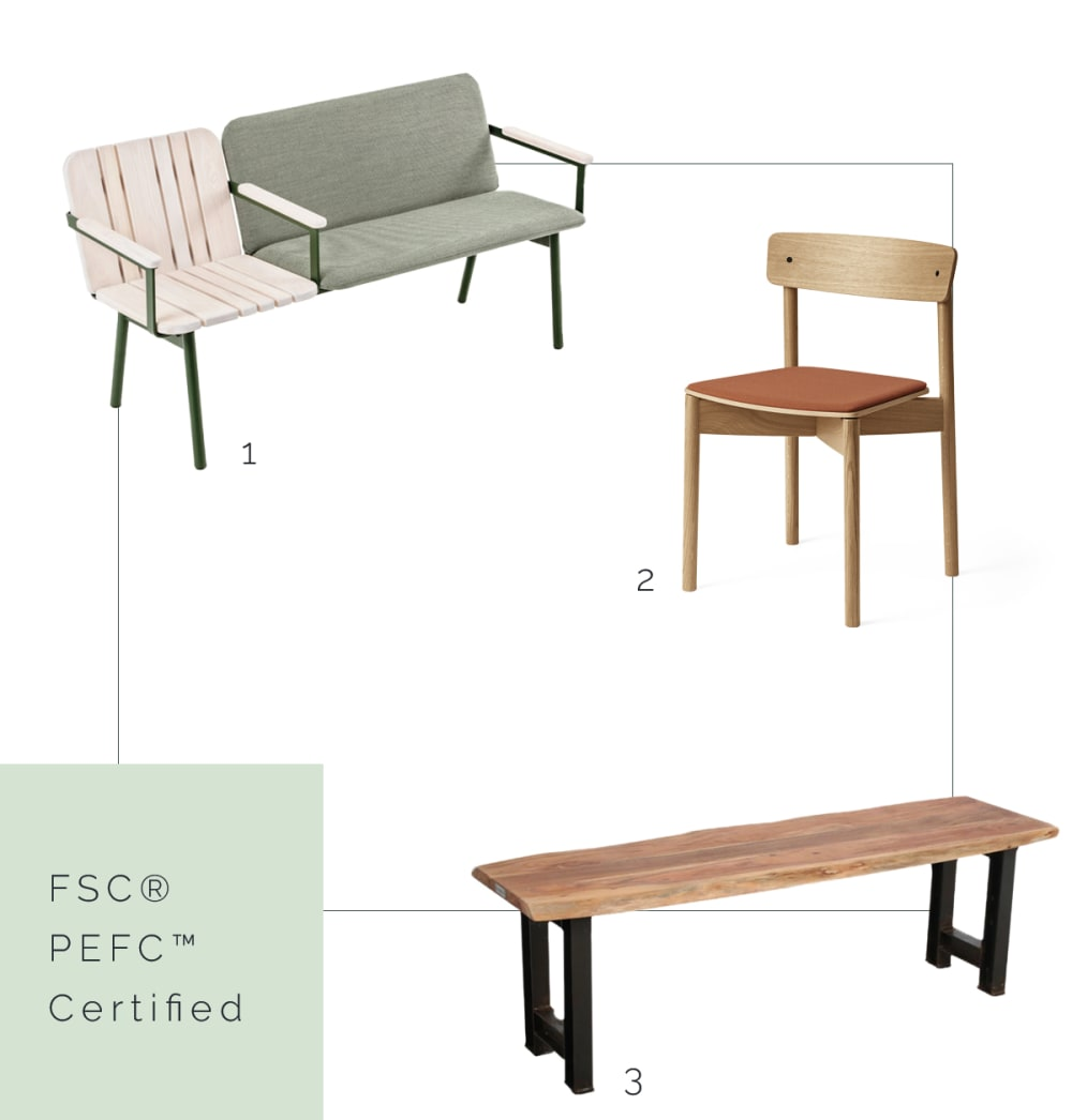 "FSC® - PEFC™ certified benches and chair.<span class=""sr-only""> (opened in a new window/tab)</span>"