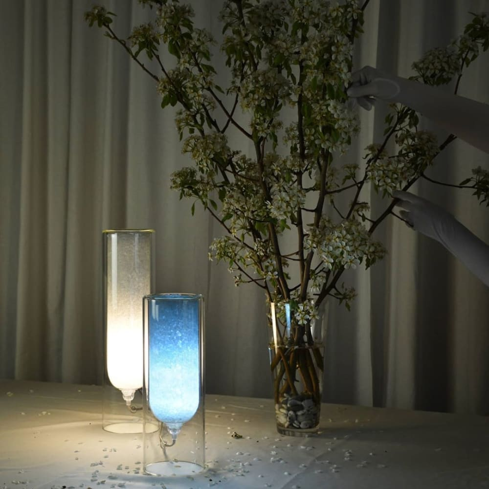 """Glass table lamps filled with natural rock salts.<span class=""""sr-only""""> (opened in a new window/tab)</span>"""