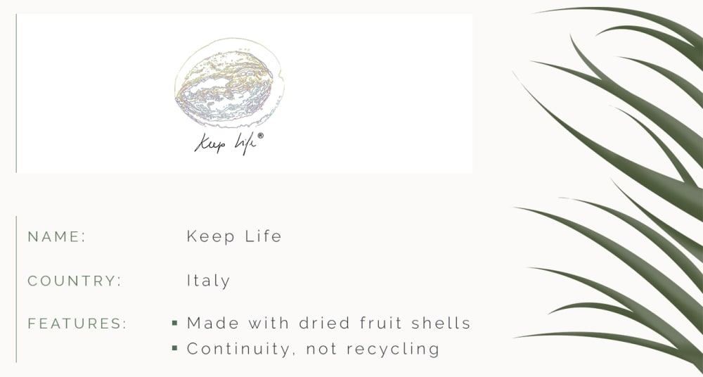 """ID card. Name: Keep Life. Country: Italy. Features: Made with dried fruit shells. Continuity, not recycling.<span class=""""sr-only""""> (opened in a new window/tab)</span>"""