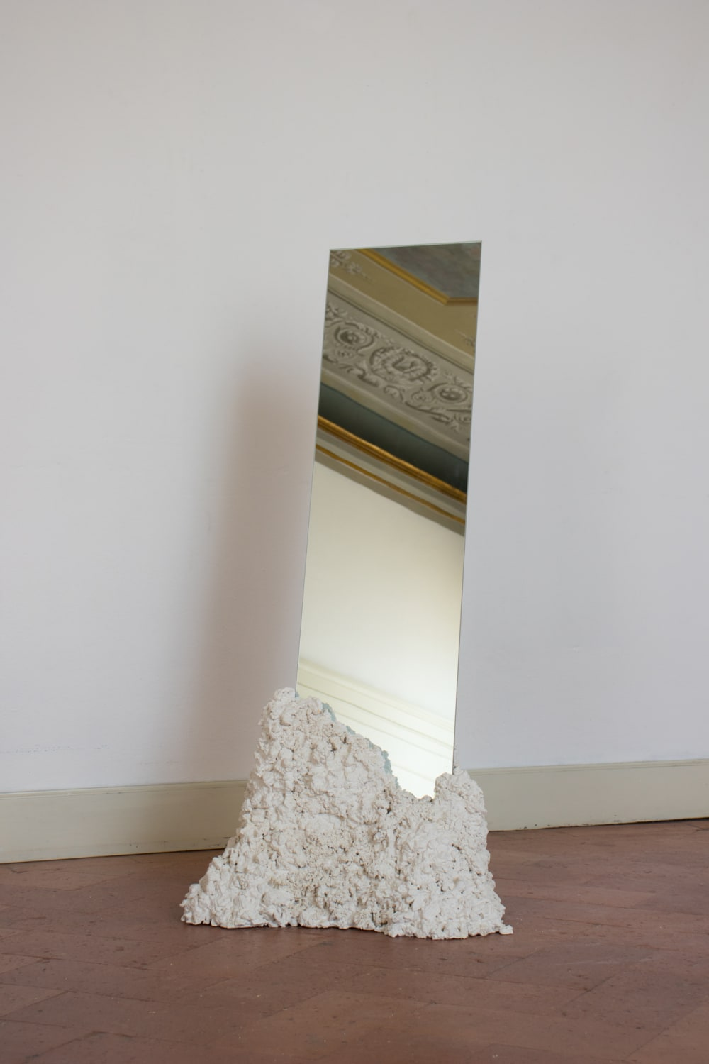 """Rectangular tall mirror kept in place with a recycled stone base.<span class=""""sr-only""""> (opened in a new window/tab)</span>"""