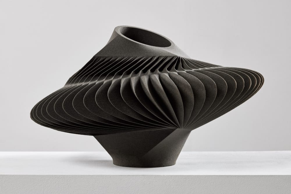 """3D printed sand vase with a seemingly pleated shape.<span class=""""sr-only""""> (opened in a new window/tab)</span>"""