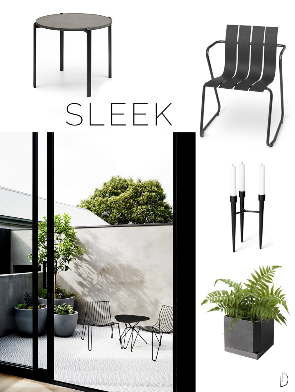 "Moodboard of an outdoor concept design in a Sleek style, created using all sustainable design products.<span class=""sr-only""> (opened in a new window/tab)</span>"