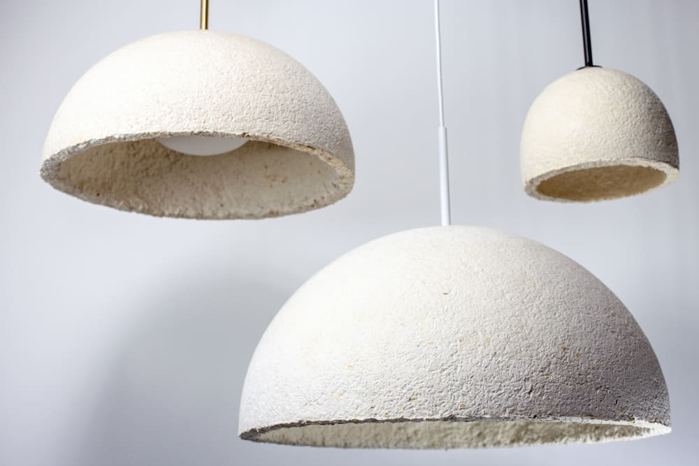 "Mycelium pendant lamps with metal cable holder.<span class=""sr-only""> (opened in a new window/tab)</span>"