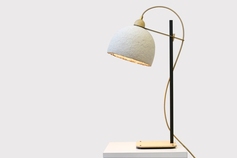 "Mycelium table lamp with brass, black and wood base.<span class=""sr-only""> (opened in a new window/tab)</span>"